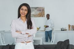 african american girlfriend with crossed arms looking at camera royalty free stock image