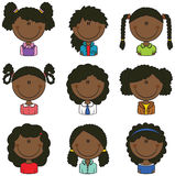 African-American Girls Avatar. Useful for Social network Royalty Free Stock Image