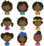 African-American girls avatars. African-American girls avatar useful for Social network Stock Photos