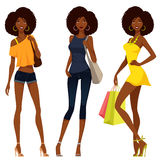 African American girls in colorful summer fashion Royalty Free Stock Image