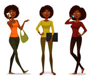 African American girls with mobile phone Stock Photo