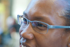 African American with glasses. African American smiling with glasses Royalty Free Stock Photos