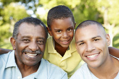 African American Grandfather, Father And Son Relaxing In Park Stock Photos