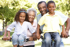 African American Grandparents With Grandchildren Cycling In Park stock images