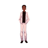 African American groom, fiance, just married man. Cartoon vector illustration isolated on white background. Black groom in fashionable clothing getting married Stock Photo