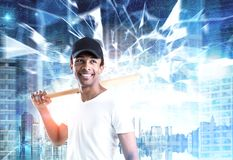 African American guy with a bat, city, polygons Stock Photos