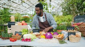 African American guy farmer putting organic food on table in farm market. African American guy farmer in apron is putting organic food vegetables bread fruit on stock video footage