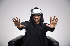 African American guy playing a vr game Stock Image