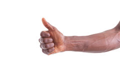 African american hand making thumbs up gesture - Black people Royalty Free Stock Photos