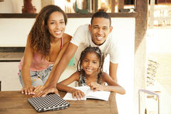African american happy family studying Royalty Free Stock Images