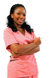 African American Healthcare worker with needle. Young female African Amercican healthcare professional holding needle - smiling royalty free stock photo