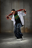 African American Hip Hop Dancer. Performing over grunge background Stock Images