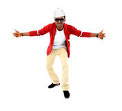 African American hip hop dancer. Over white background Royalty Free Stock Photos
