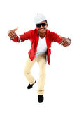 African American hip hop dancer. Over white background Royalty Free Stock Photography