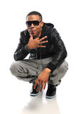 African American Hip Hop dancer. Portrait of African American hip hop artist  over white background Royalty Free Stock Photos
