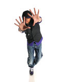 African American Hip Hop Dancer. Portrait of hip hop African American dancer isolated over white backround Royalty Free Stock Images