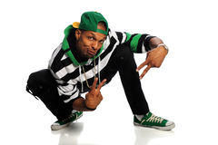 African American Hip Hop Man Dancing. Over white background Royalty Free Stock Photography