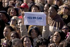 African American holding Yes We Can sign Royalty Free Stock Photo