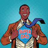 African American joyful super dad Royalty Free Stock Photos