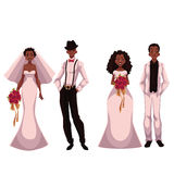 African American just married couple, set of brides and grooms Royalty Free Stock Image