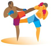 African American kickboxer attacks his rival. Vector illustration Stock Image