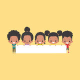 African-American Kids with Blank Banner Royalty Free Stock Image