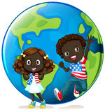 African american kids on earth vector illustration