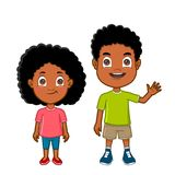 African american kids front view. African ethnicity boy and girl standing together Royalty Free Stock Images
