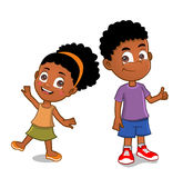 African American kids. Young african american boy and girl standing together royalty free illustration