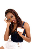 African American lady holding business card. Royalty Free Stock Photography