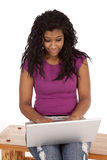 African American with laptop woman Royalty Free Stock Photo