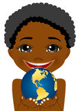 African american little boy holding earth globe Stock Images
