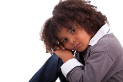 African american little boy sitting on the floor Stock Photo
