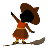 African American Little Witch Silhouette Royalty Free Stock Images