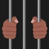 African american locked behind bars Royalty Free Stock Photos