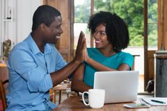 African american love couple give high five Stock Photography
