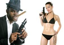 African american mafia man smoking cigar Royalty Free Stock Photography