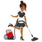 African American Maid Vacuum Cleaner. Beautiful African American woman in vintage maid dress cleaning using red vacuum cleaner Stock Images