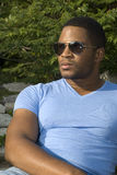 African American Male in baby blue Stock Photos