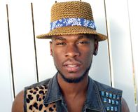 African american male fashion model with hat Stock Image