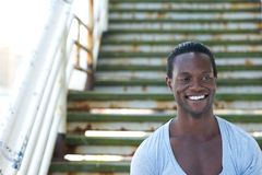 African american male model smiling outdoors Stock Photography