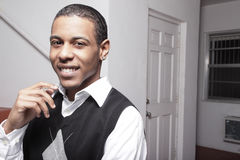 African American male smiling Stock Photo
