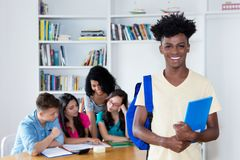 African american male student with group of international students royalty free stock photos