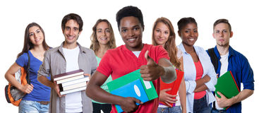 African american male student showing thumb with group of students. On an isolated white background for cut out Royalty Free Stock Photo