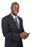 African American Male Texting Isolated Stock Photo