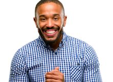 Handsome african american man. African american man with beard confident and happy with a big natural smile isolated over white background stock images