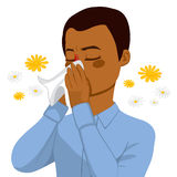 AFrican American Man Blowing Nose. Young brown haired african american man sneezing blowing nose on white tissue because of spring allergy Stock Photos