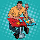 African American man eating at the restaurant fasfud and reads s. Martphone, pop art retro illustration stock illustration
