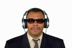 An African-American man with headphones Royalty Free Stock Image