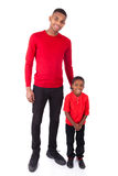 African American man with his little boy isolated on white backg Royalty Free Stock Images